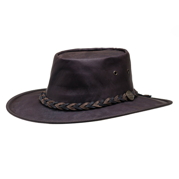 1018 brown squashy kangaroo leather barmah hat