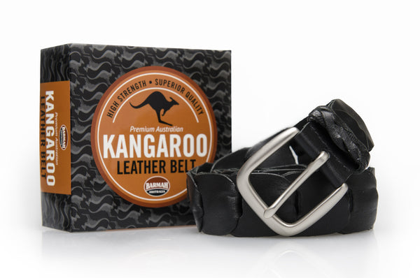 Barmah Kangaroo Leather Belt - Broken Hill - Black