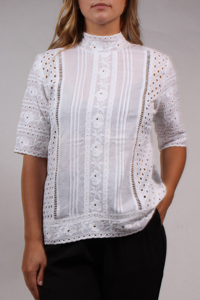 Eyelet Button-Back Blouse
