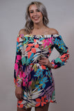Multi Color Off The Shoulder Dress Front View