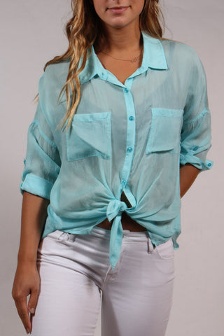 Cargo Pocket Button Down Blouse