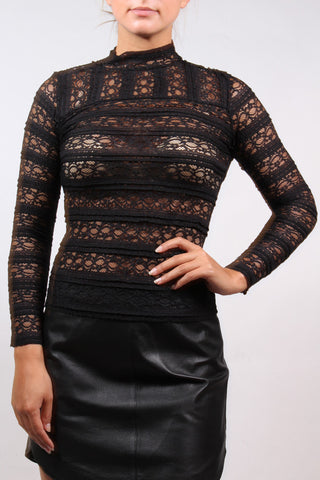 Dashielle Mock Neck Lace Top