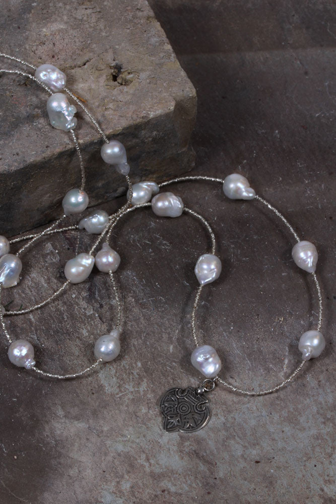 Hefty Spacer Long Pearl Necklace