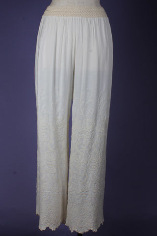 Embroidered wide leg pant