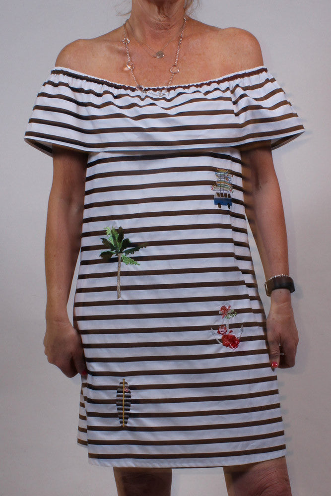 navy-and-white striped off the shoulder dress with embroidery Front View