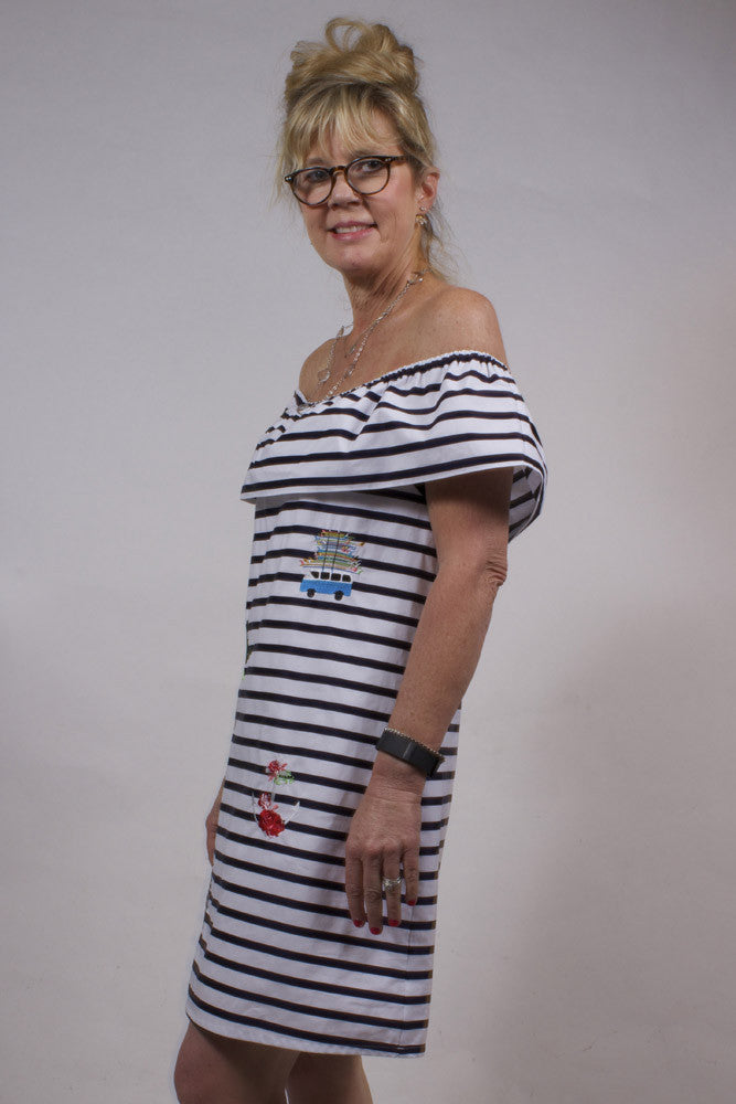 navy-and-white striped off the shoulder dress with embroidery Side View