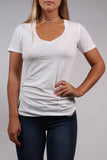 White Organic Cotton V-Neck Tee by Groceries Apparel Front View