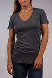 Grey Organic Cotton V-Neck Tee by Groceries Apparel Front View