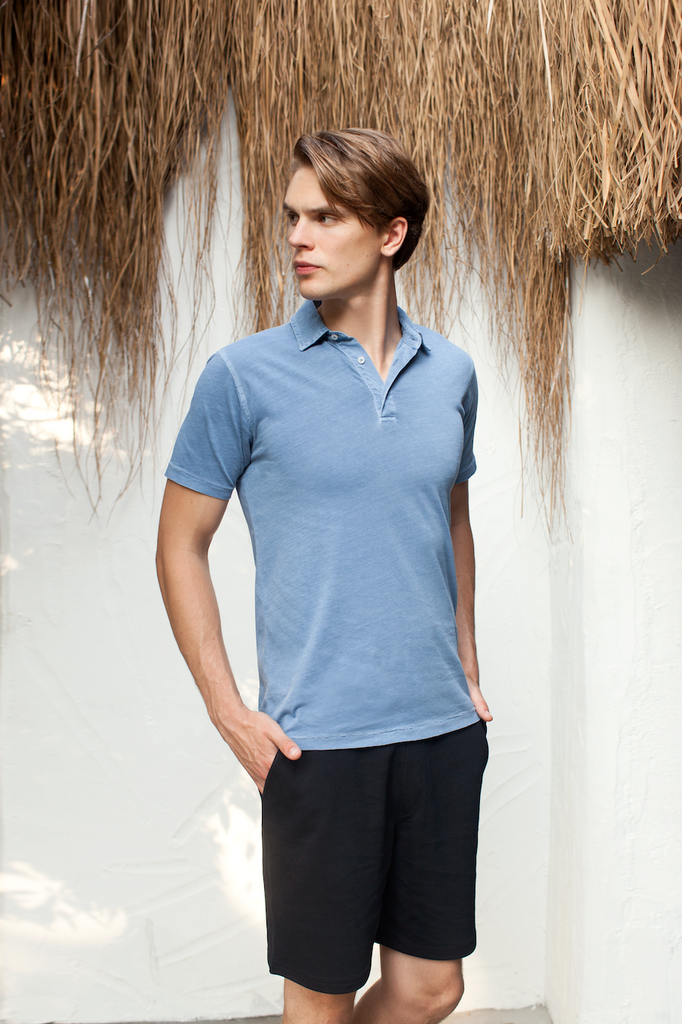 Polo Yakalı Garment-Dyed Cotton T-shirt
