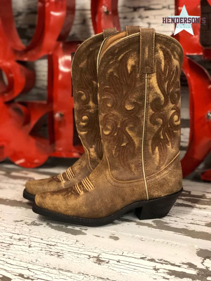 Ladies Tan Distressed Boots - Henderson's Western Store