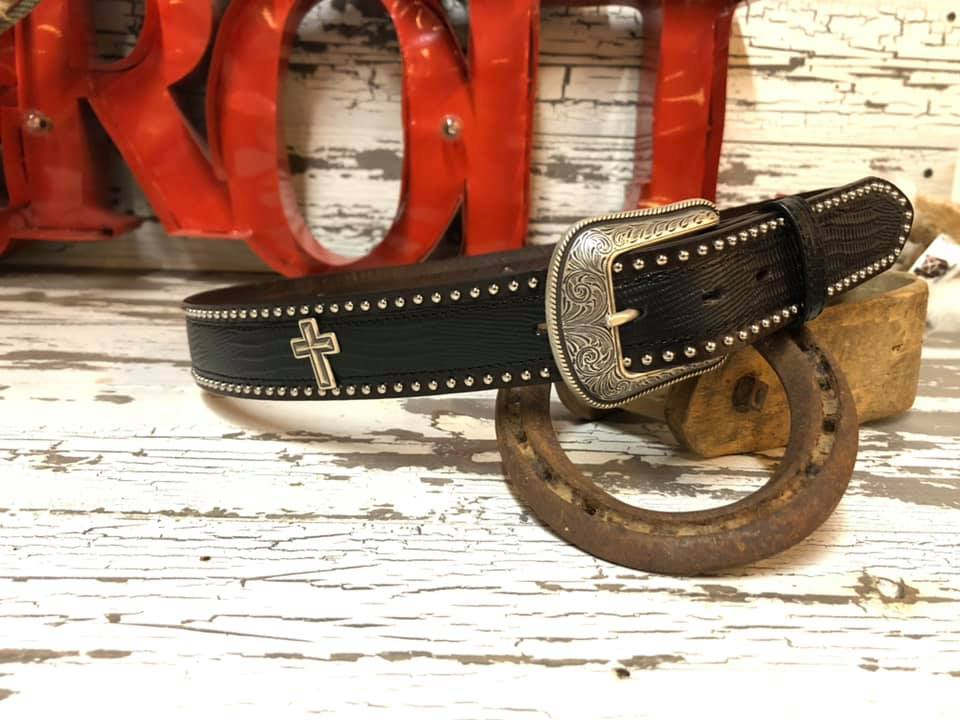 Mens Studded Cross Belt - Henderson's Western Store