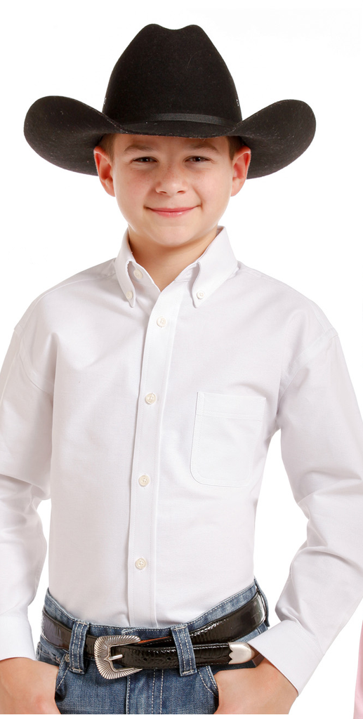 Boy's White Button Down - Henderson's Western Store