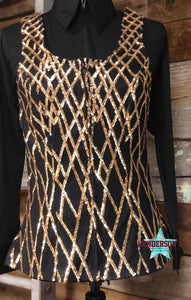 Load image into Gallery viewer, Black & Gold Show Vest - Henderson's Western Store