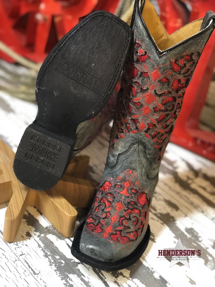 Girl's Black & Red Glitter Inlay Boots - Henderson's Western Store