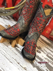 Load image into Gallery viewer, Girl's Black & Red Glitter Inlay Boots - Henderson's Western Store