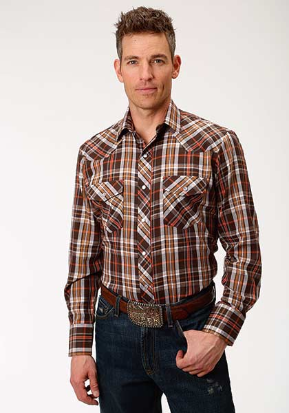 Brown & Orange Tall Plaid - Henderson's Western Store