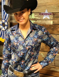 Load image into Gallery viewer, Western Paisley Print - Deep Blue - Henderson's Western Store