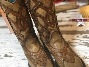 Load image into Gallery viewer, Golden Overlay & Stud Boots - Henderson's Western Store