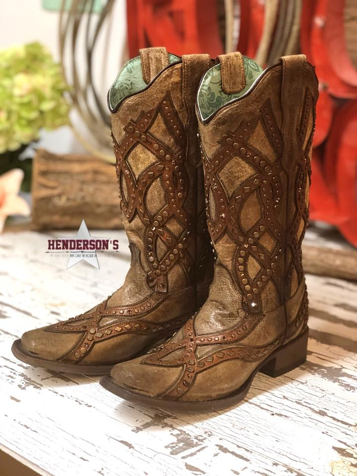 Golden Overlay & Stud Boots - Henderson's Western Store