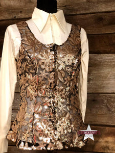 Load image into Gallery viewer, Gold Floral Sheer Vest - Henderson's Western Store