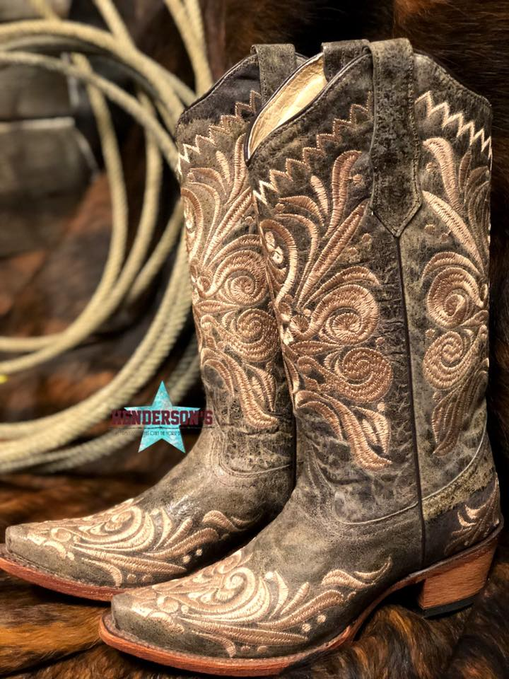 Distressed Green/Beige Filigree Boots - Henderson's Western Store