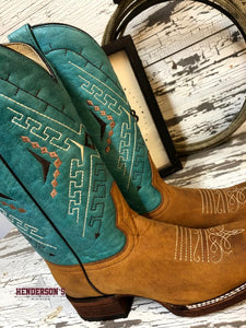 Load image into Gallery viewer, Ladies Turquoise Embroidery Boot - Henderson's Western Store