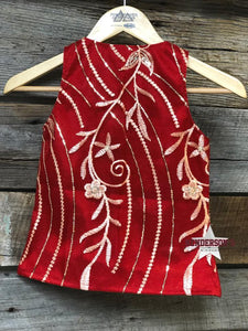 Load image into Gallery viewer, Red & Gold Mini Vest - Henderson's Western Store