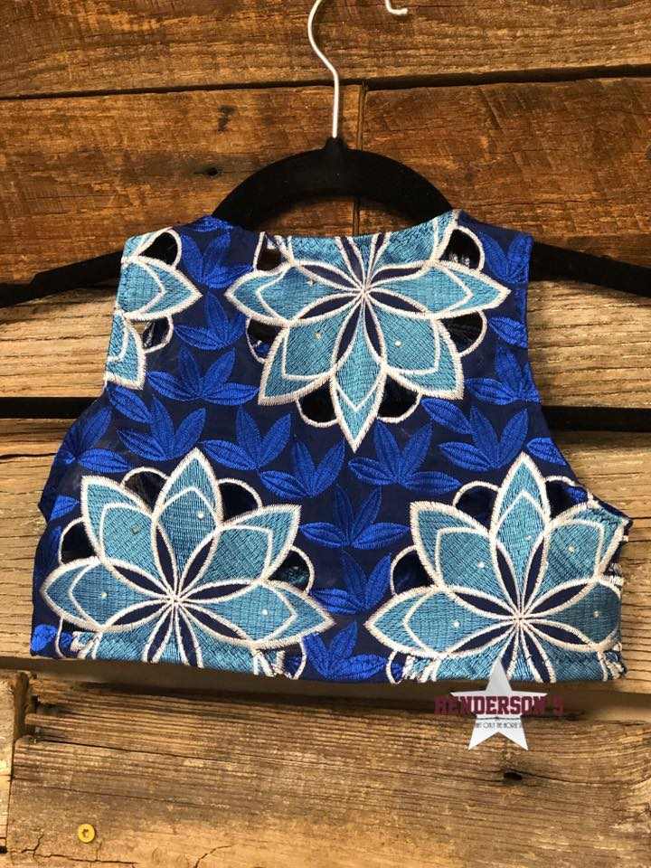 "Royal W/Teal Flowers Youth ""Mini"" Bolero - Henderson's Western Store"