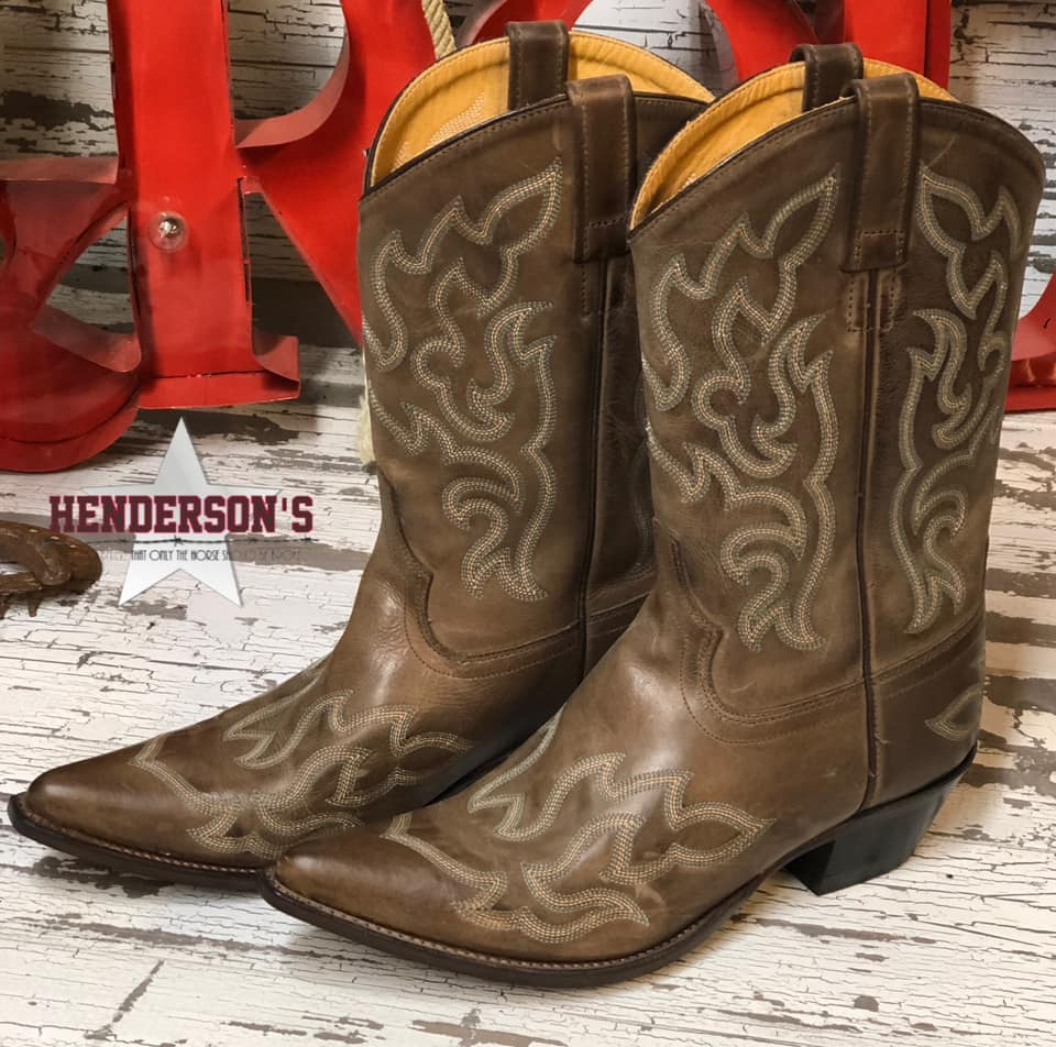 Tan Pointed Toe Boots - only 1 pair left 9.5 & 7.5 left - Henderson's Western Store