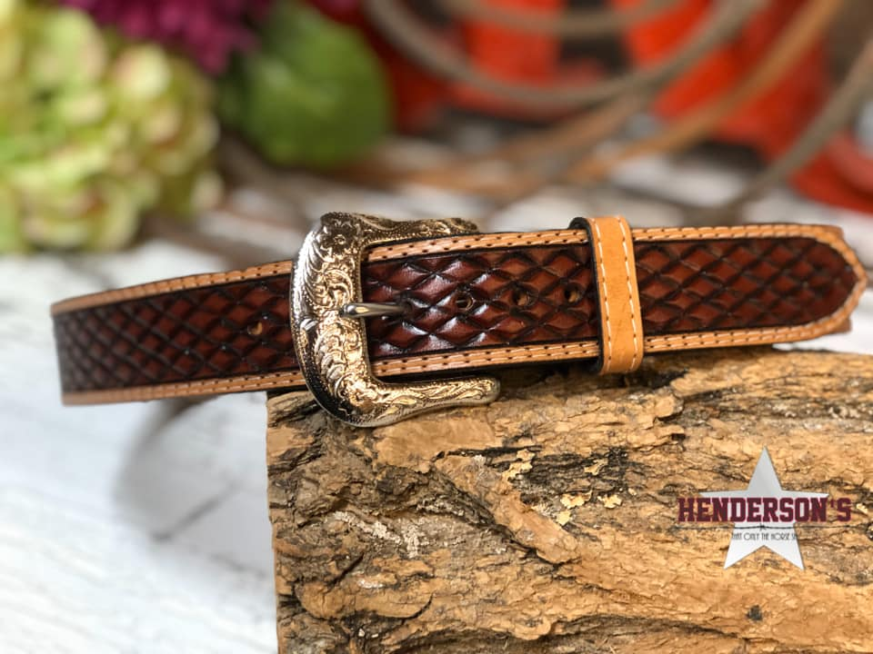 Men's Tooled Leather Belt - Henderson's Western Store