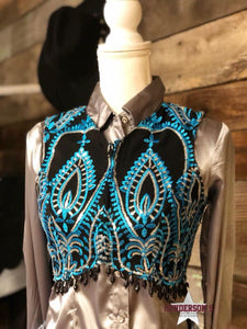 Load image into Gallery viewer, Turquoise & Black Bolero - Henderson's Western Store