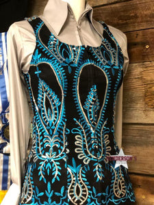 Load image into Gallery viewer, Turquoise & Black Show Vest - Henderson's Western Store