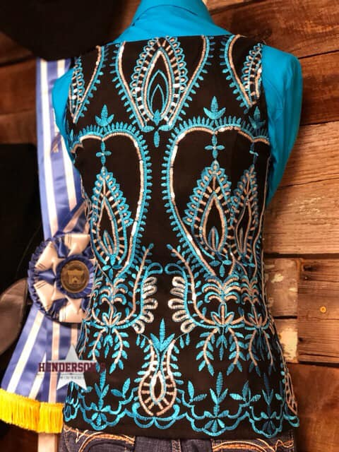 Turquoise & Black Show Vest - Henderson's Western Store