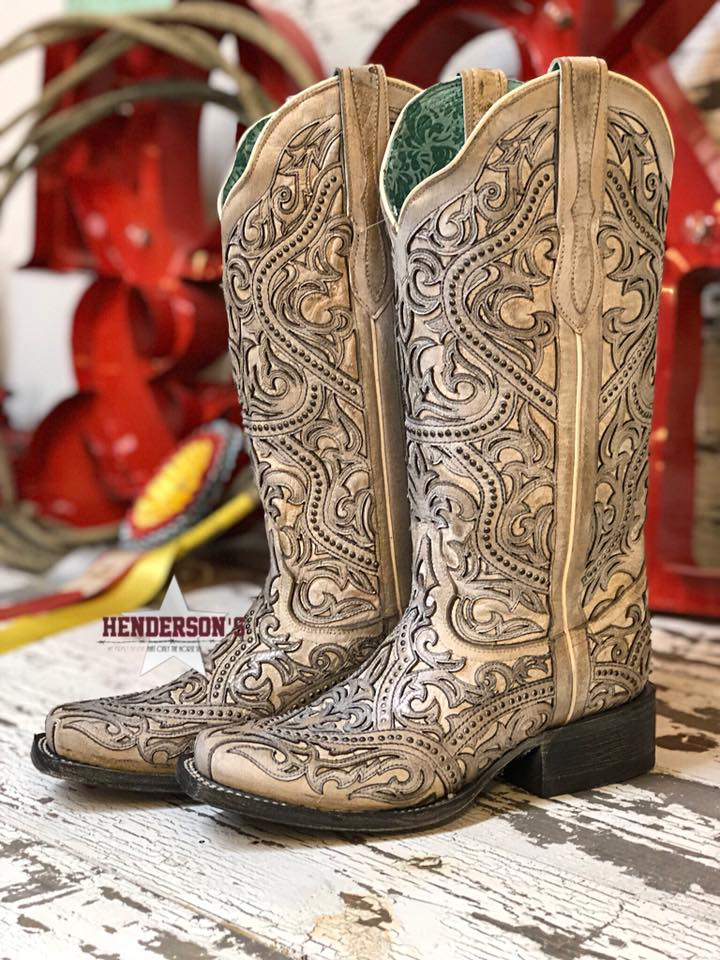 White Full Inlay Boots - Henderson's Western Store