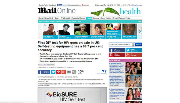 First DIY test for HIV goes on sale in UK: MailOnline Screenshot