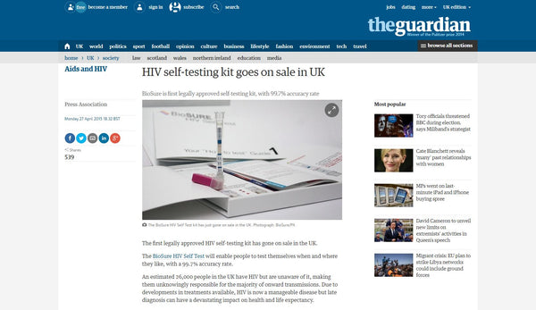 HIV Self-testing Kit goes on sale in UK - Guardian Screenshot