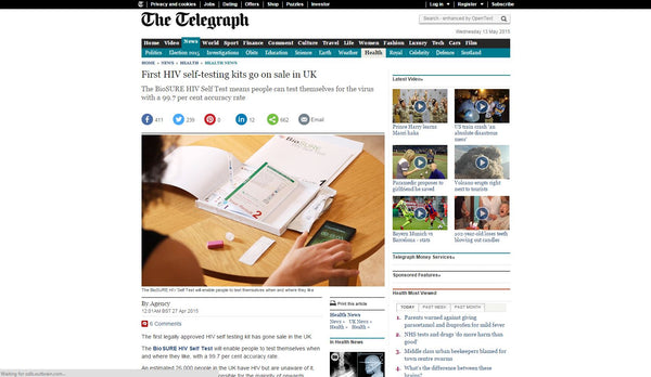 First HIV self-testing kits go on sale in UK: The Telegraph Screenshot