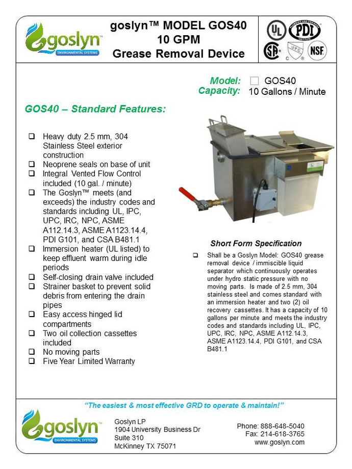 GOS40 10 GPM Automatic Grease Removal Device. - Goslyn