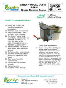 GOS60- 15 GPM Automatic Grease Removal Device - Goslyn