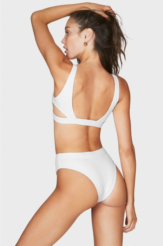 White high waisted, high hip bottom