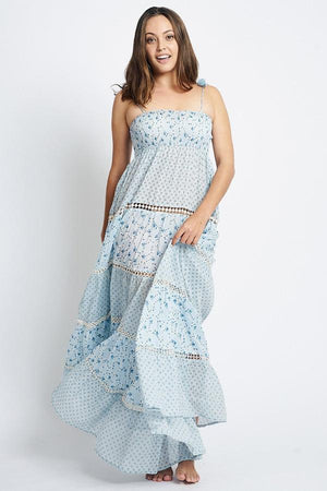 Load image into Gallery viewer, Blue Floral Print Maxi Dress