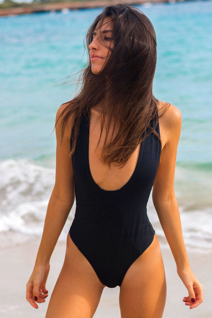 Plunge black cross back one piece