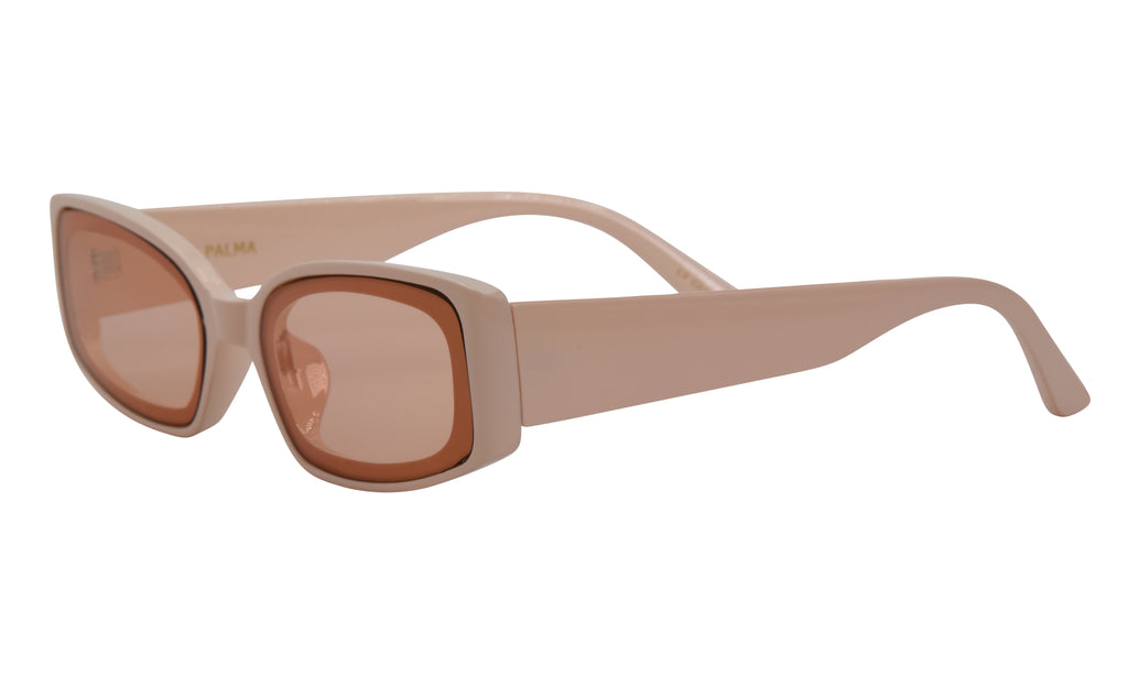 Light pink thick rectangle glasses