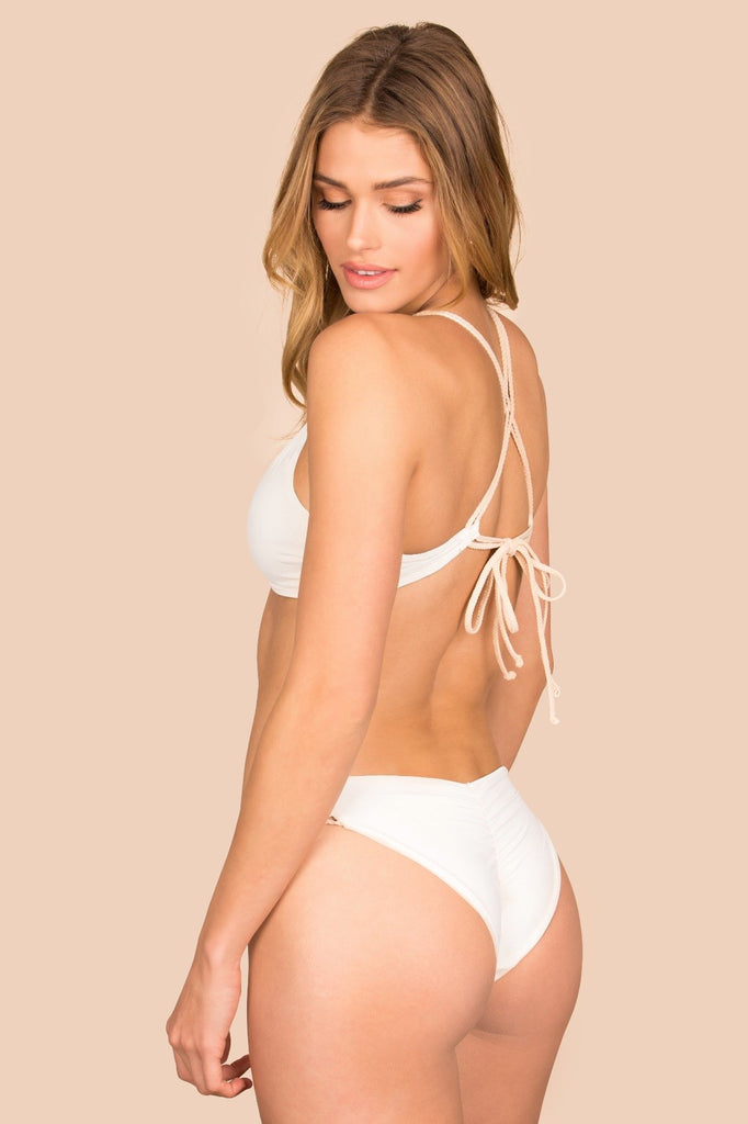 White ruched reversible bottoms