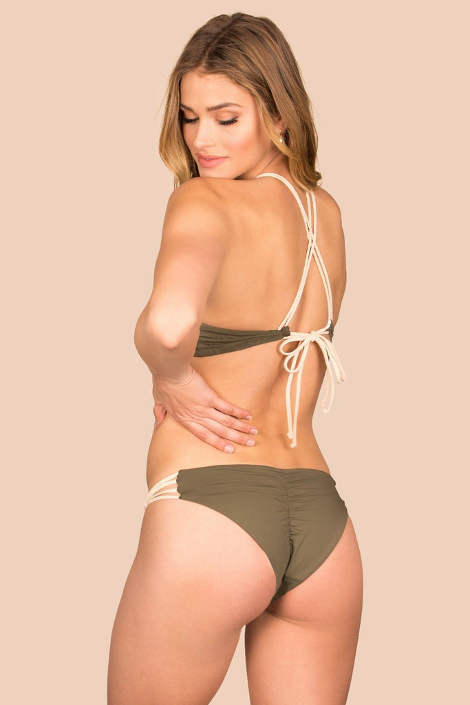 Green ruched reversible bottom