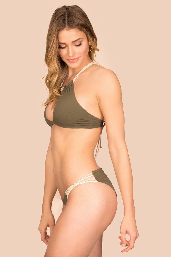 Green ruched reversible bottoms