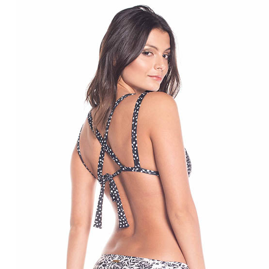 Printed reversible racer back triangle top