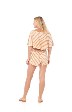 Load image into Gallery viewer, Tie Wrap Short Zebra Print Golden Loose Fitting
