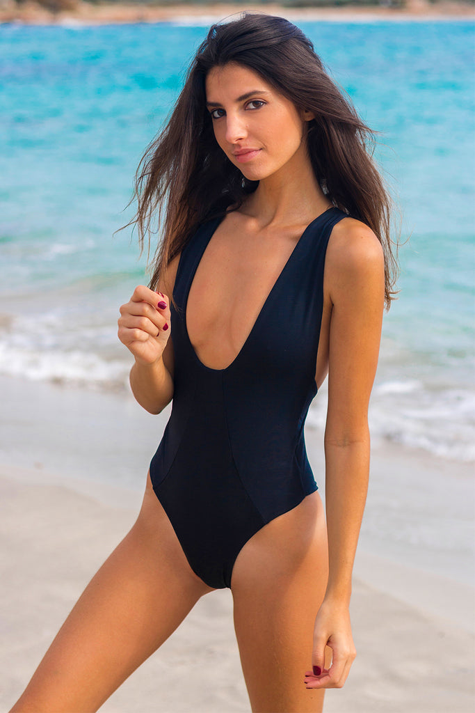 Black plunge one piece