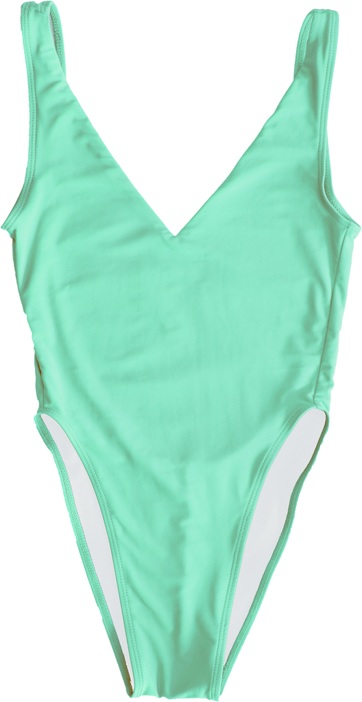 Aqua blue high hip open back one piece